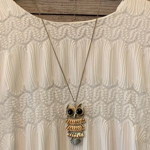 Long brass owl statement necklace